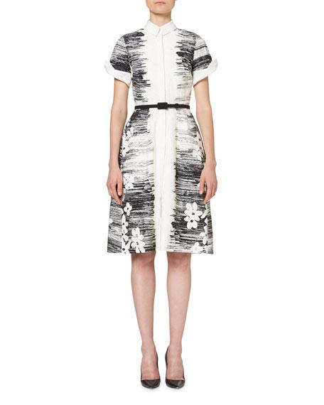 Short-Sleeve Floral Belted Shirtdress