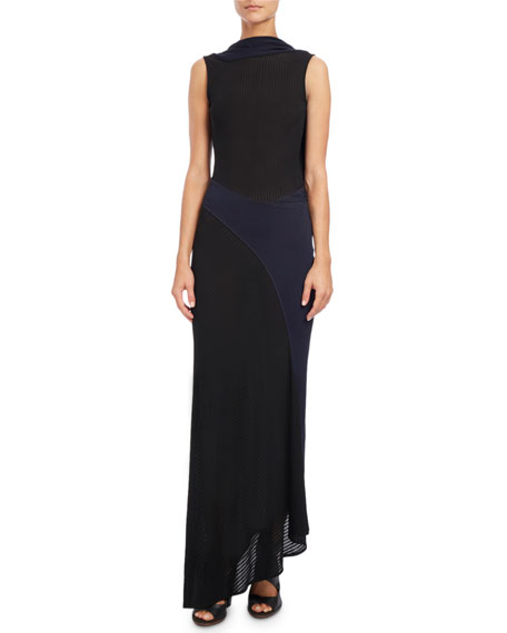 Atlein Sleeveless Draped-Back Gown, Blue/Black