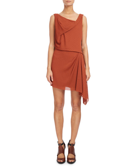 Sleeveless Draped Mini Dress, Rust