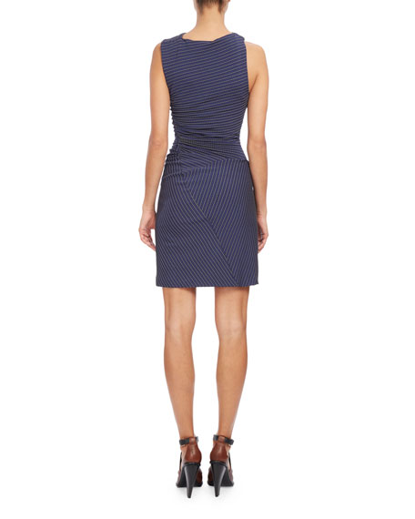 Sleeveless Ruched Mini Dress, Navy