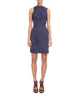Sleeveless Ruched Mini Dress, Navy