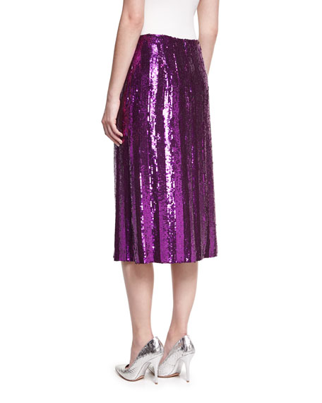 Sequin-Striped Midi Skirt, Purple