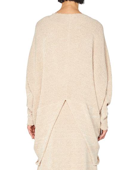 Knit Overlap Dolman-Sleeve Sweater, Light Pink