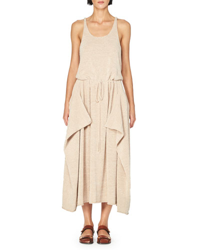 Sleeveless Knit Drawstring Midi Dress, Light Pink
