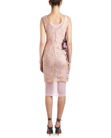 Agate-Print Sleeveless Lace-Back Dress, Purple
