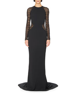 Long-Sleeve Lace-Back Cady Gown, Black