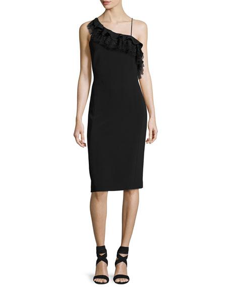 Strappy Ruffled One-Shoulder Dress, Black