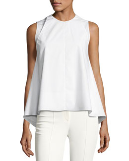 Sleeveless Double-Layer Top, White