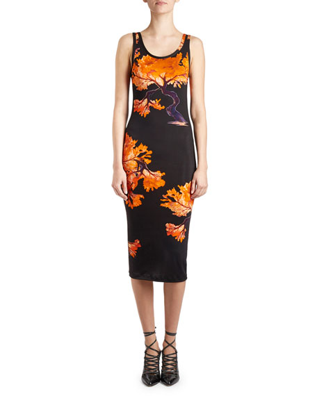 Floral-Print Jersey Tank Dress, Black/Orange