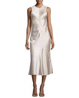 Sleeveless Seamed Satin Midi Dress