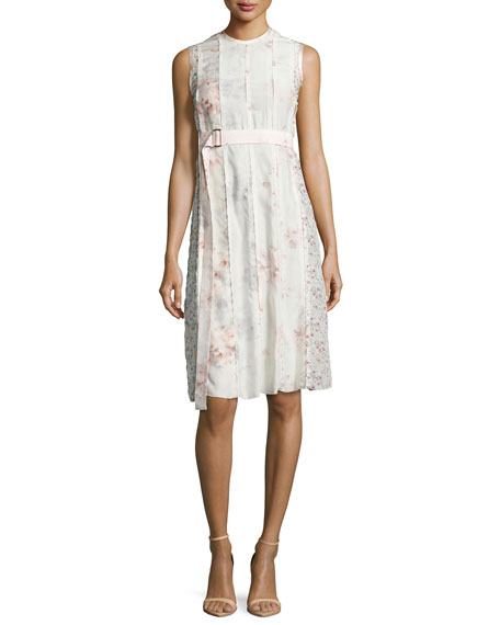 Sleeveless Watercolor Floral Dress, Light Pink