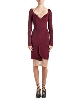Long-Sleeve Cady Sweetheart Dress, Dark Purple