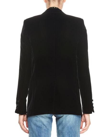 Velvet One-Button Blazer, Black