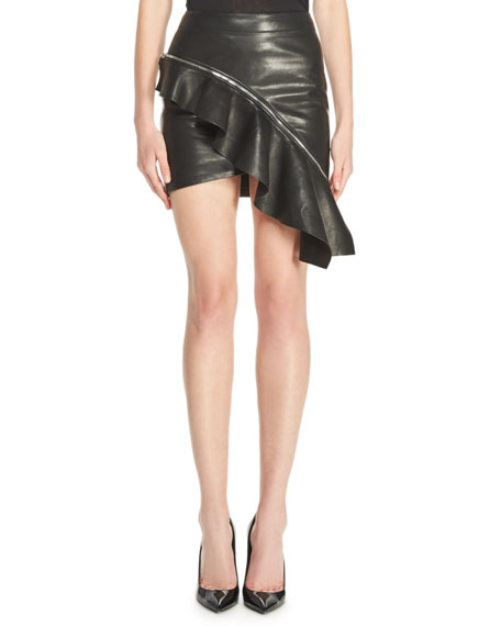 26cf3ef1b5 Saint Laurent Ruffled Leather Mini Skirt