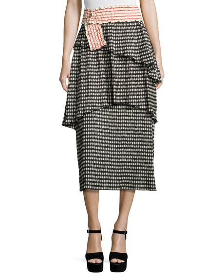 Rosie Assoulin Cottons CRINKLED GINGHAM MIDI SKIRT, BLACK/WHITE
