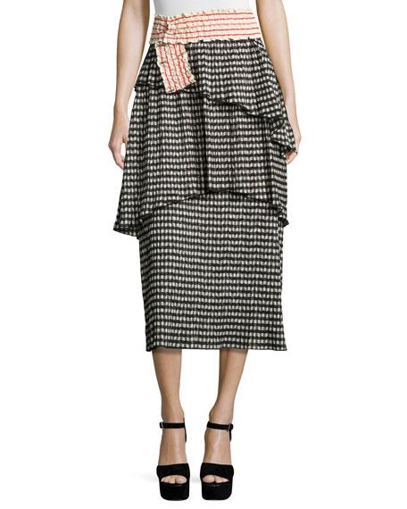 Crinkled Gingham Midi Skirt, Black/White