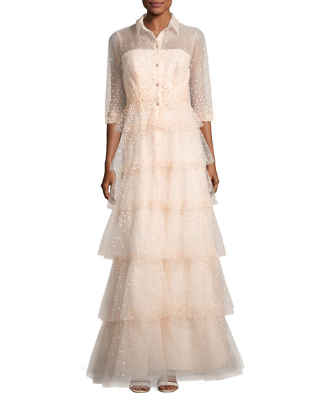 3/4-Sleeve Tiered Tulle Shirtwaist Gown, Blush