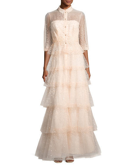 3/4-Sleeve Tiered Tulle Shirtwaist Gown, Blush
