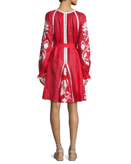 Embroidered Tie-Waist Mini Dress, Red/White