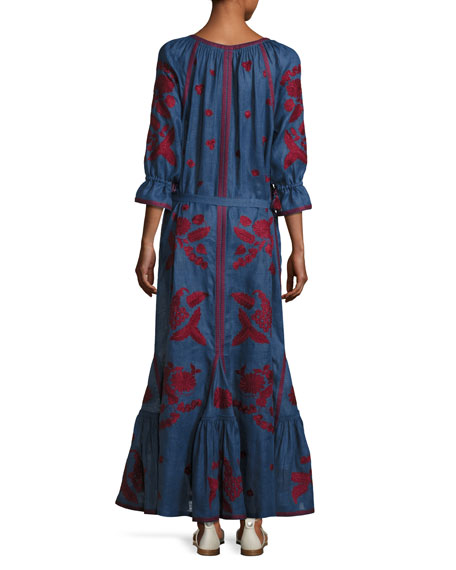 3/4-Sleeve Embroidered Tunic Maxi Dress,