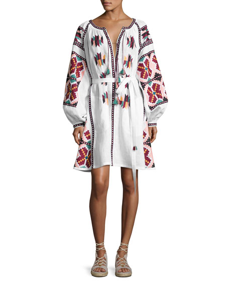 Embroidered Puff-Sleeve Mini Dress, White Pattern