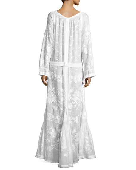 Long-Sleeve Embroidered Tunic Maxi Dress, White