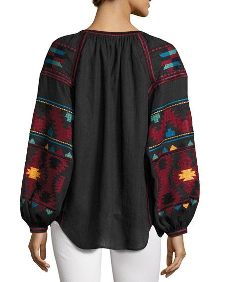 Embroidered Tassel-Tie Peasant Blouse, Black