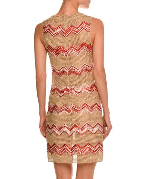 Zigzag Sleeveless Scoop-Neck Dress, Gold/Red
