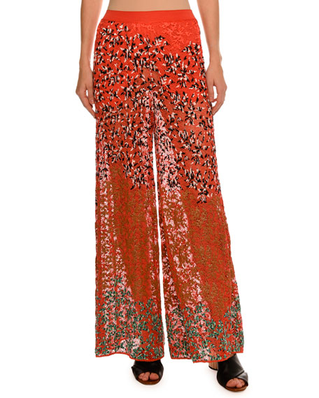 Leaf-Embroidered Wide-Leg Pants, Red