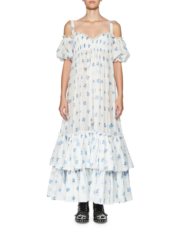 Floral Cold-Shoulder Tiered Maxi Dress, White/Blue