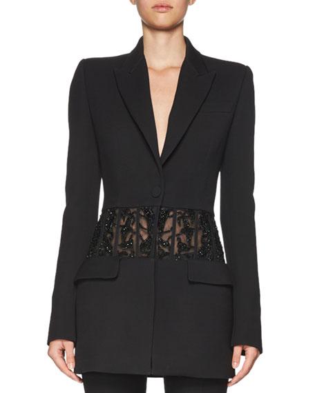 Beaded Sheer-Panel Jacket, Black