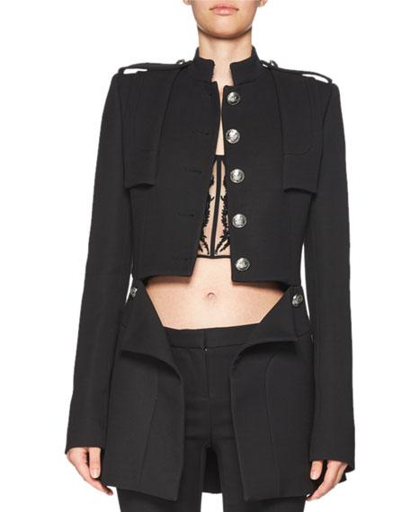 Cutaway Wool-Blend Jacket, Black