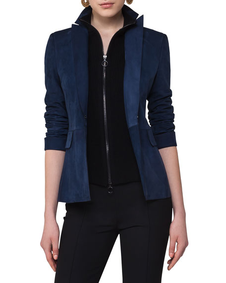 Suede One-Button Blazer w/Knit Vest, Navy