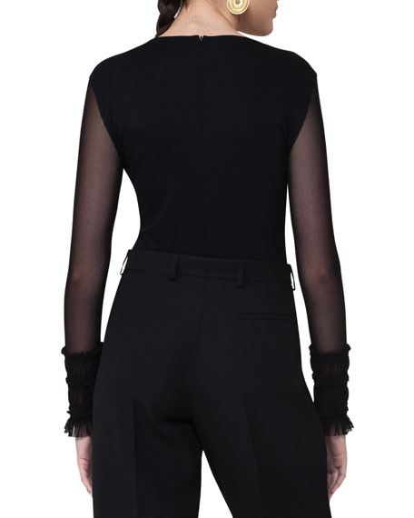 Modal Mesh-Sleeve Top, Black