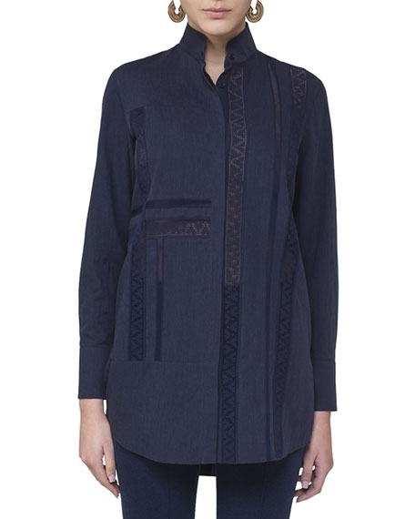 Lace-Trim Stand-Collar Blouse, Navy