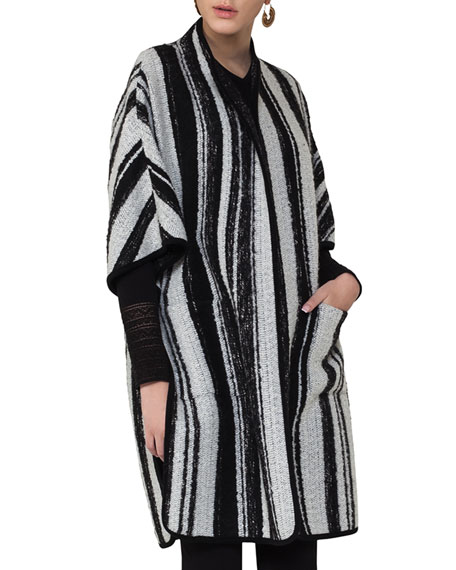 Akris punto Striped Knit Cape Coat, Multi Pattern