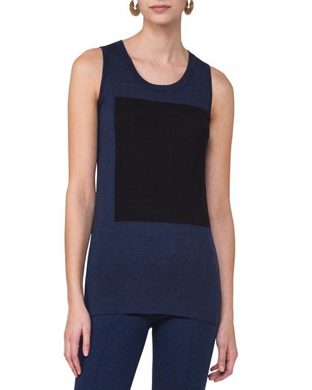 Sleeveless Colorblock Top, Blue Pattern