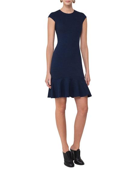 Akris punto Cap-Sleeve Jersey Flounce-Hem Dress, Navy