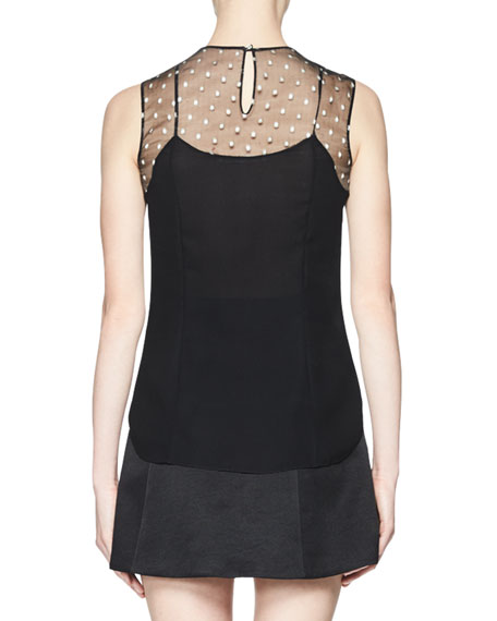 Sleeveless Bead-Embroidered Silk Top, Black