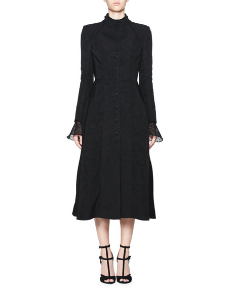 Treves Single-Breasted A-Line Dress Coat, Black