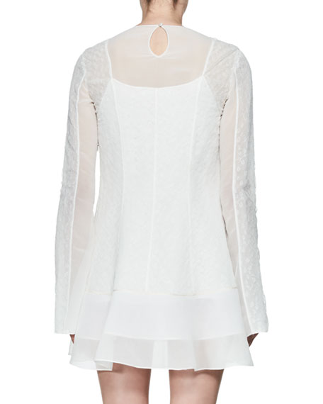 Tentel Long-Sleeve Organza Dress, White