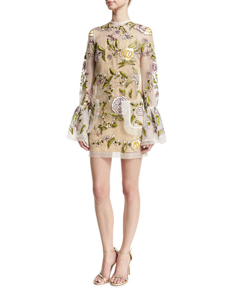 Floral-Embroidered Bell-Sleeve Dress, Ivory