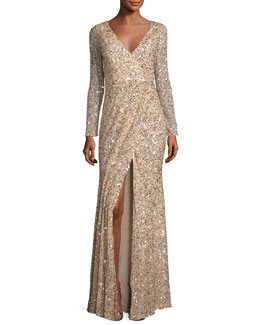 Long-Sleeve Sequined V-Neck Gown, Gold