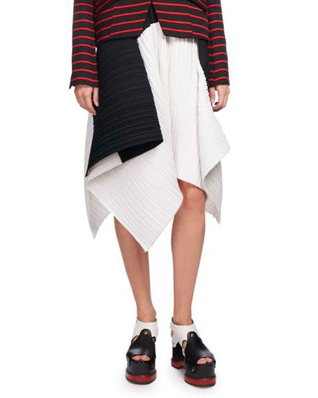 Plissé Colorblock Asymmetric-Hem Skirt