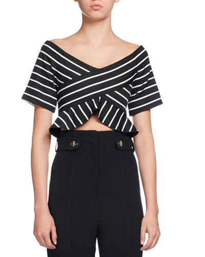 Striped Jacquard Off-Shoulder Crop Top