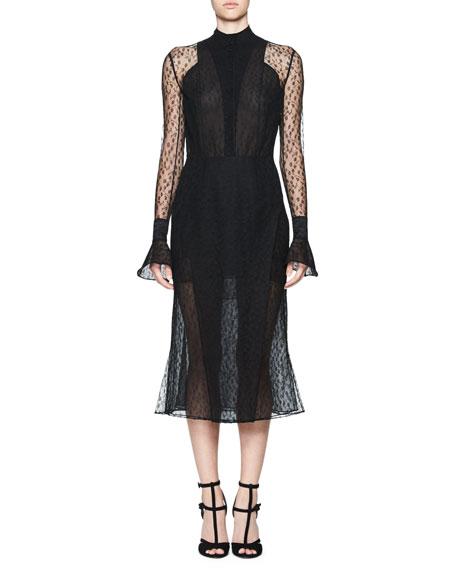 Tentel Long-Sleeve Sheer Lace Midi Dress, Black