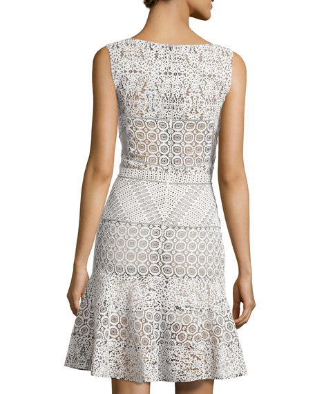 Sleeveless Drop-Waist Lace Dress, White