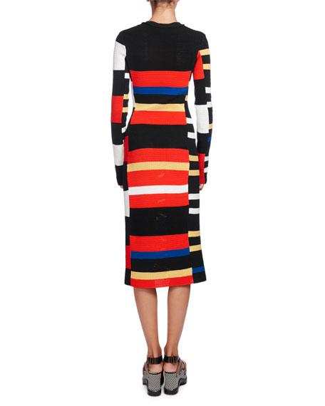 Variegated-Stripe Long-Sleeve Crochet Dress, Multi