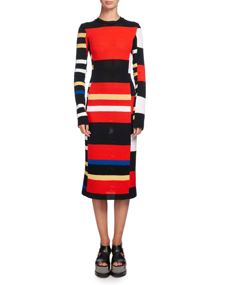 Variegated-Stripe Long-Sleeve Crochet Dress, Multi