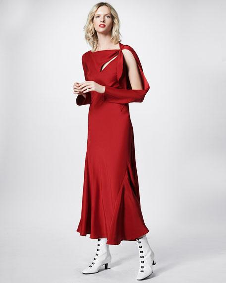 Tessil Bias-Cut Asymmetric Maxi Dress, Red